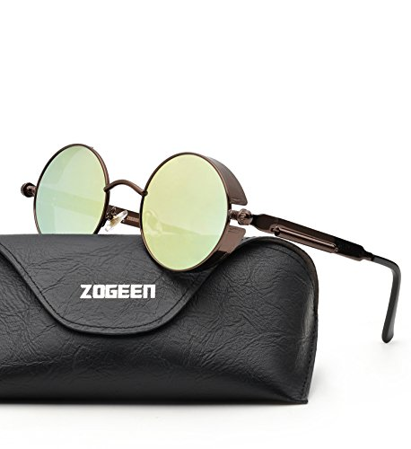 ZOGEEN Polarized Steampunk Round Sunglasses for Men Women Mirrored Lens Metal Frame S2671 - Oval Face Shape For Sunglasses Best