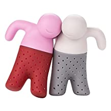 Cestlafit Tea Infuser for Loose Leaf Tea Cute Silicone Tea Strainer Set Tea Infuser Man, Great Couples Gift, Pack of 2, Grey and Pink