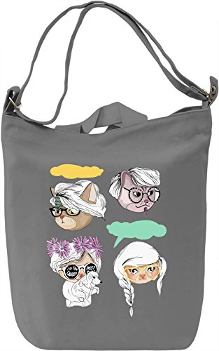 Hipster cats Borsa Giornaliera Canvas Canvas Day Bag| 100% Premium Cotton Canvas| DTG Printing|