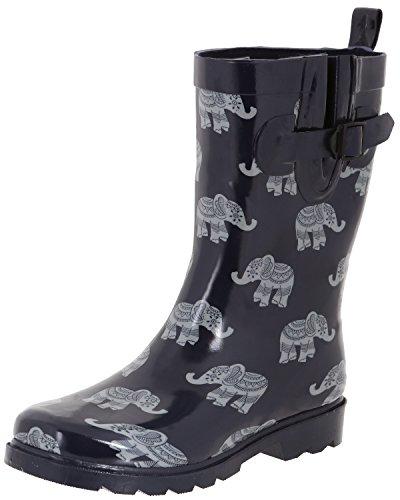 Capelli New York Ladies Elephant Parade Printed Rain Boots Navy Combo 10