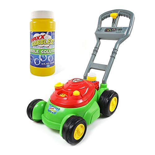 Sunny Days Entertainment Bubble-N-Go Deluxe Toy Lawn Mower with 4 oz Bubble Solution | No Batteries Required | Push…