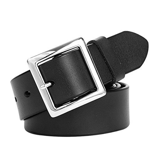 E-Clover Simple Womens Leather Belt Square Silver Buckle Dress Belt for Jeans 3.2CM Wide (Square Buckle Belt)