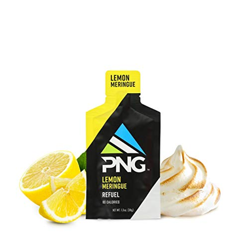 PNG Sports Refuel Energy Gel Pack – Endurance Energy Gels, Isotonic, Energy Nutrition Gel with Electrolytes, No Caffeine – Lemon Meringe, 24 Pack