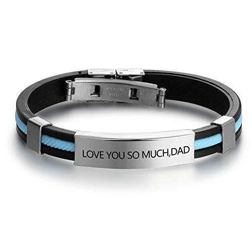 Steel Stainless Leather Bracelets Rubber (Personalized Engraved Stainless Steel Rubber Bracelet for Men Women Kids DIY Custom Name Date ID Bracelet (Sky Blue))