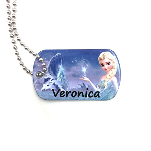 happypettag Elsa Frozen Personalized Keychain Kid ID Tag Girls Dog Tag Necklace, Personalized Lost Child ID Girls Necklace