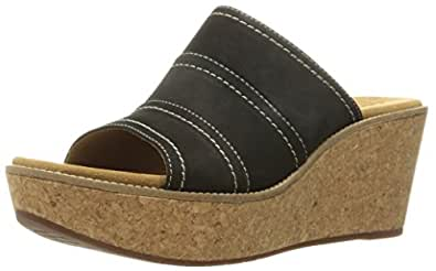 9fb3112e53ef9 Image Unavailable. Image not available for. Colour: Clarks Women's Aisley  Lily Wedge Sandal Black Nubuck ...
