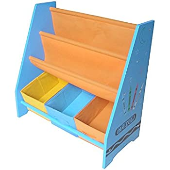 Toddler Size - Bebe Style Kids Wooden Rack/Sling Bookcase Storage for Children - Colorful, Stylish, and Easy to Assemble (Blue)