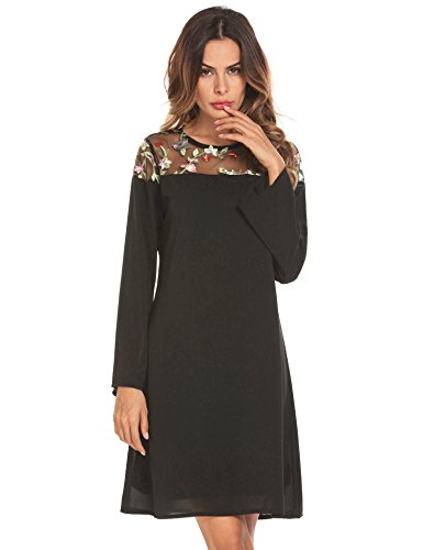 Shift Embroidered Black Dress (pasttry Women Casual Crewneck Half Sleeve Summer Chiffon Embroidered Tunic Dress Black L)