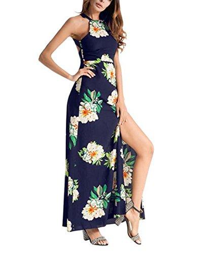2018 Vestido Femenino Primavera Verano Nuevo Estilo Sexy Halter Vestido Irregular Boho Vestido de Las Niñas XIAOXIAO (Color : Azul, tamaño : L)