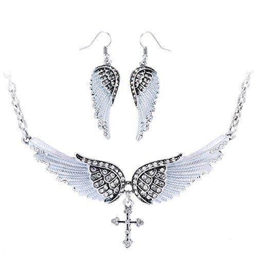Szxc Jewelry Women's Crystal Wings Cross Necklaces Earrings Jewelry Sets Biker Jewelry