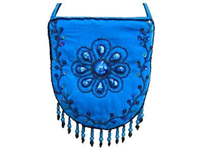 91815453e7e7 Image Unavailable. Image not available for. Color  Velvet beaded handmade  turquoise blue Floral purse Bag handbag