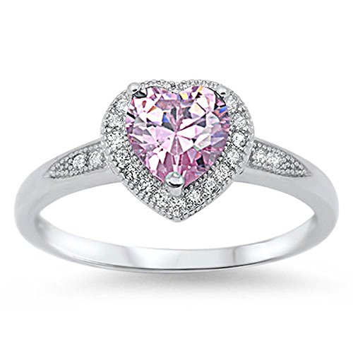 Sterling Silver Women's Flawless Pink Cubic Zirconia Wedding Solitaire Halo Heart Ring (Sizes 4-10) (Ring Size (Solid Sterling Silver Heart Solitaire)