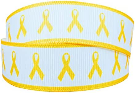 7/8 Inch Childhood Cancer Awareness Printed 10 Yards Grosgrain Ribbon
