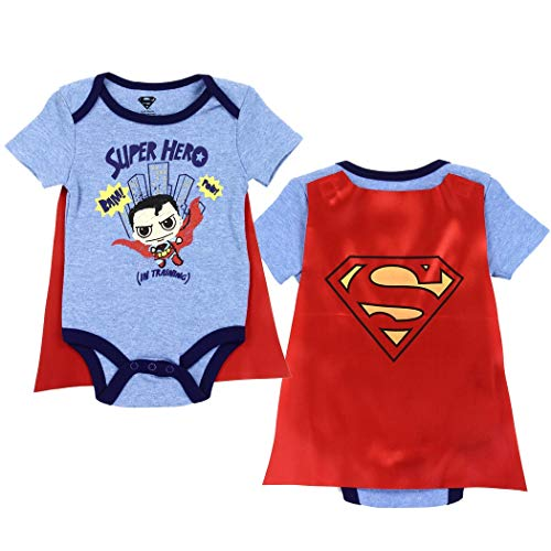 Superman Infant Baby Boys Super Hero Bodysuit Creeper with Detachable Cape (Blue, 0-3 mo.)]()
