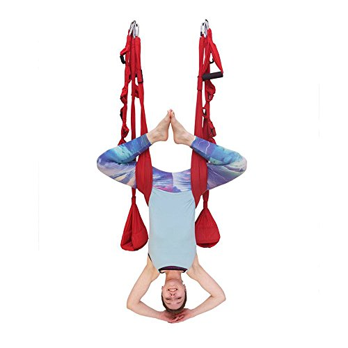 OMNI GYM Omni Swing Pro – Padded Yoga Swing for Inversion Therapy, Aerial Fitness, and Back Pain (Red) For Sale