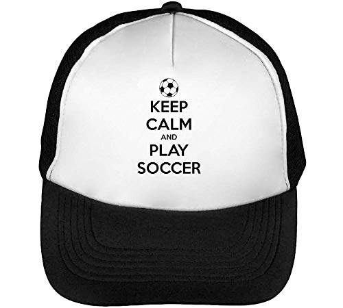 Keep Calm Play Soccer Gorras Hombre Snapback Beisbol Negro Blanco