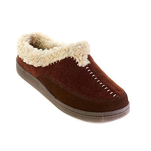 Clarks Womens Lois Suede Hoodback Slipper With Faux Fur Lining (10M US, Brown)