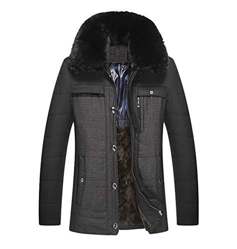 Caldo Collo Giacca Pelliccia Huixin Ispessito Con Parka In Outwear Schwarz Abbigliamento Inverno Finto Cappotto Maschile 00xqaErg
