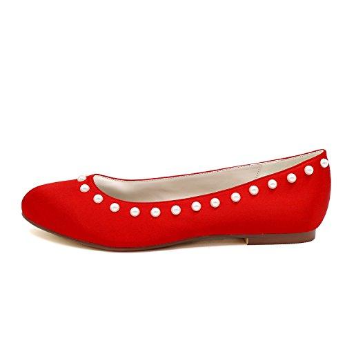 Satinado Est Perlas Boda De Elobaby De Zapatos Mujeres Las Plano Tobillo w6SvPqUx