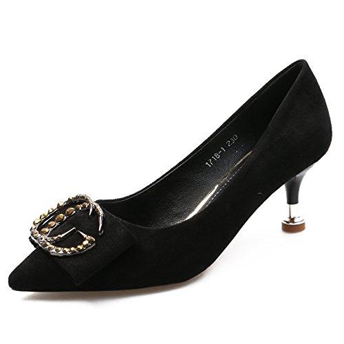 KHSKX-Hohe Schuhe Mit Einem Guten Freund Scharfe Flache Mund Alle Übereinstimmen Neuen Frühling Katze Mit Schuhe Schwarze Diamanten Schnalle Schuhe black