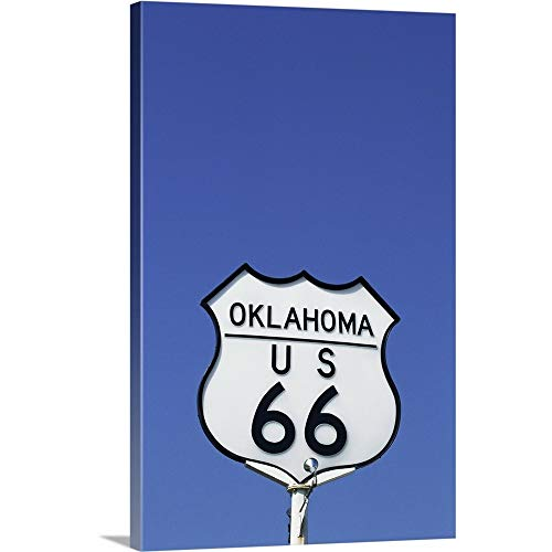 GREATBIGCANVAS Gallery-Wrapped Canvas Entitled Route 66 Sign, Oklahoma by 12