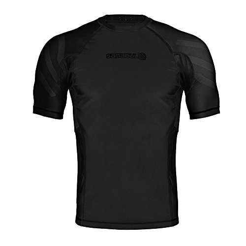 Sanabul Essentials Short Sleeve Compression Base Layer Rash Guard (Medium, All Black)
