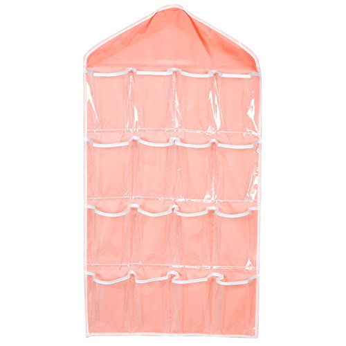 Large Size 16 Pockets Wardrobe Back Door Hanging Bag Organizer for Sock Panties Color:Pink Ainest