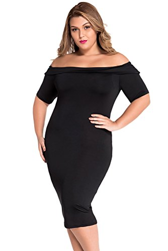 Damen plus Größe Off Schulter Midi Kleid Club Wear Winter Party ...