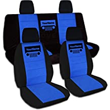 2011-2017 Jeep Wrangler JK Two-Tone Grill Seat Covers w Your Name/Text: Black & Blue - Full Set: Front & Rear (21 Colors) 2012 2013 2014 2015 2016 2-Door/4-Door Complete Back Solid/Split Bench