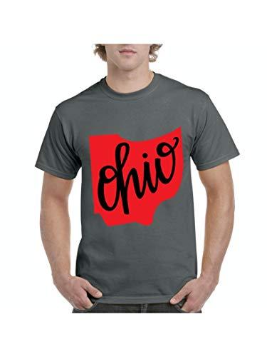 Ohio State Flag Cincinnati Traveler`s Gift Men's Short Sleeve T-Shirt (MC) Charcoal