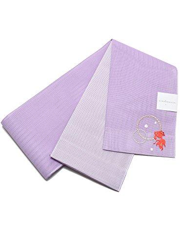チート革命の配列[ 京都きもの町 ] 夏 半幅帯 藤色 金魚 細帯 半巾帯