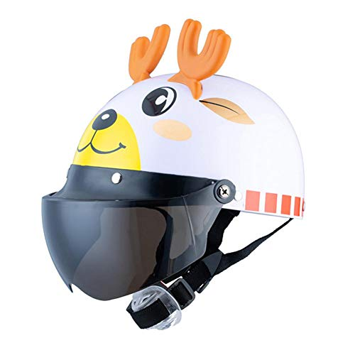 whiteswan Children's Summer Helmet Cute Cartoon Child Bicycle Scooter Protective Helmet with Mesh Cotton Lining White Elk ()