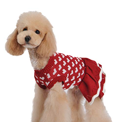 LERTREE Christmas Pet Sweater Love Heart Red Skirt Winter Warm Knit Clothes for Dog Cats Holiday New Year Dress