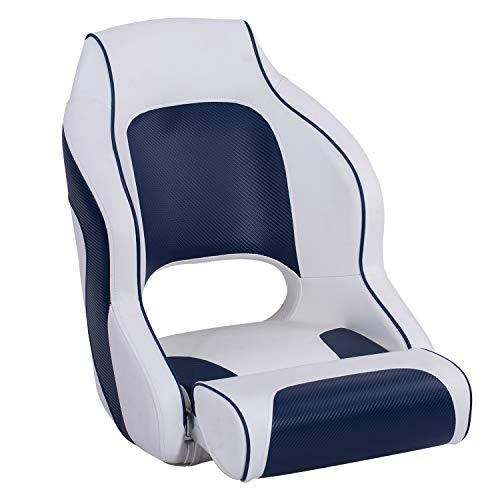 North Captain M1 Flip Up Boat Seat with Bolster,Bucket Seat,Captain Seat,White/Blue