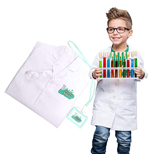 Luyee Lab Coat for Kids Scientist Role Play Set Doctor Pretend Play Scrub Uniforms Including Goggle and Personalized ID Card, Age 4~8 White -