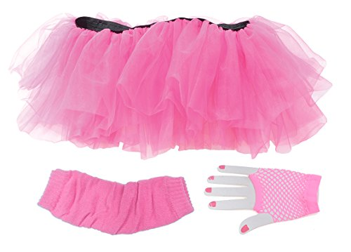 Valley Girl Costume Diy (Adult Costume Tutu Set- Neon Pink)
