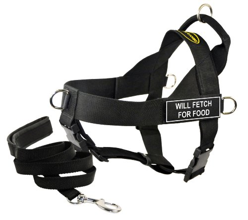 Dean & Tyler's DT Universal ''WILL FETCH FOR FOOD'' Harness, X-Small, with 6 ft Padded Puppy Leash. by Dean & Tyler