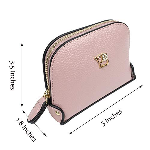Coin Purse Wallet leather Wristlet Handbags with Wrist Strap Cute Mini Designer Pouch Great Gifts for Women Girls(Elephant Pink) by JZE (Image #5)