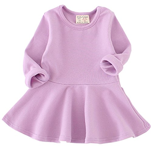 Csbks Toddler Baby Girls Long Sleeve Cotton Dress Solid Ruffle Tops 3T Purple]()