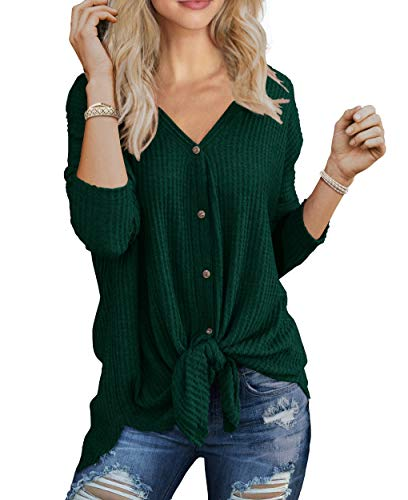 IWOLLENCE Womens Loose Henley Blouse Bat Wing Long Sleeve Button Down T Shirts Tie Front Knot Tops Dark Green - Long Tops Underwear Sleeve