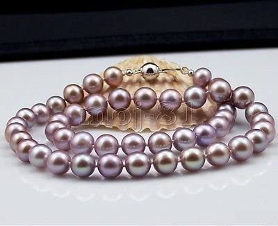 Rare 8mm Genuine Purple South Sea Shell Pearl Round Beads Necklace 18/'/' AAA