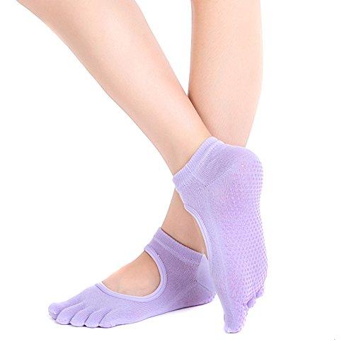 Ssowun Fletion calcetines dedos yoga,calcetines dedos mujer antideslizantes Luz Púrpura