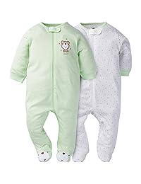 Gerber unisex-baby Baby 2 Pack Zip Front Sleep 'N Play