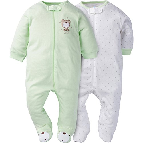 (Gerber Baby 2 Pack Zip Front Sleep 'n Play, Teddy, 0-3 Months)