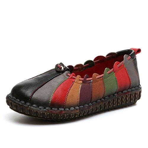 Socofy Slip-on Dagdrivare, Kvinna Regnbåge Väva Vintage Läder Dagdrivare, Mjuk Platt Tillfällig Dagdrivare, Promenadskor Svart