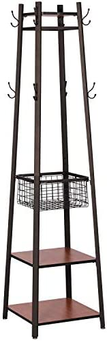 VECELO Industrial Coat Rack Enterway Clothes Stand with 2 Tier Storage Shelves Basket,Hall Trees with 8 Dual Hooks, Brown Black