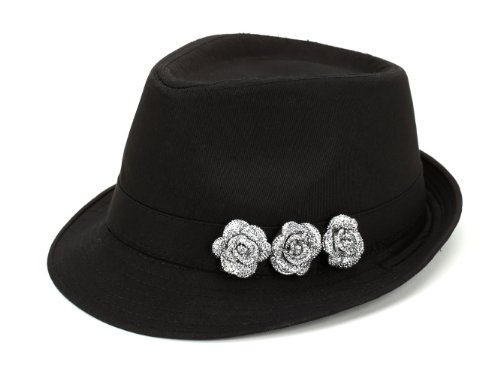 Boardwalk Empire Inspired Rhinestone Fedora Thug Gangster Prohibition Rockabilly Twenties Fifties Hat Black One Size (Women Hipster Hats)