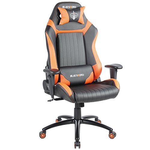 BLUE SWORD Leather Computer Gaming Chair Large Size Office Chair Racing Style High-back Adjustment Ergonomic Design With Lumbar Support and Headrest Orange, BS003