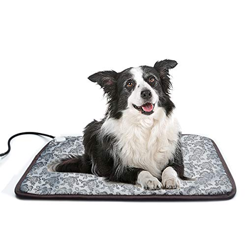 Heated Dog Bed Heated Pet Mat Mat Waterproof Adjustable Electric Heating Mat with Chew Resistant Steel Cord (28x19, Flower)