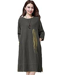 Minibee Women's Emboridery Element Cozy Summer Dress with Pockets
